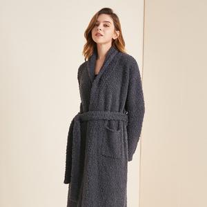 男女情侣纯色加绒加厚针织浴袍式睡衣家居服软绵绵睡袍冬季加长款
