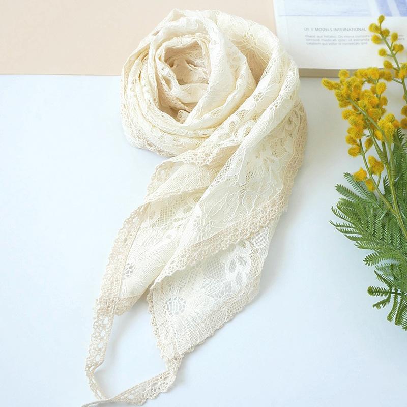 热销25件有赠品花痕夏季蕾丝米色镂空花边细长丝巾