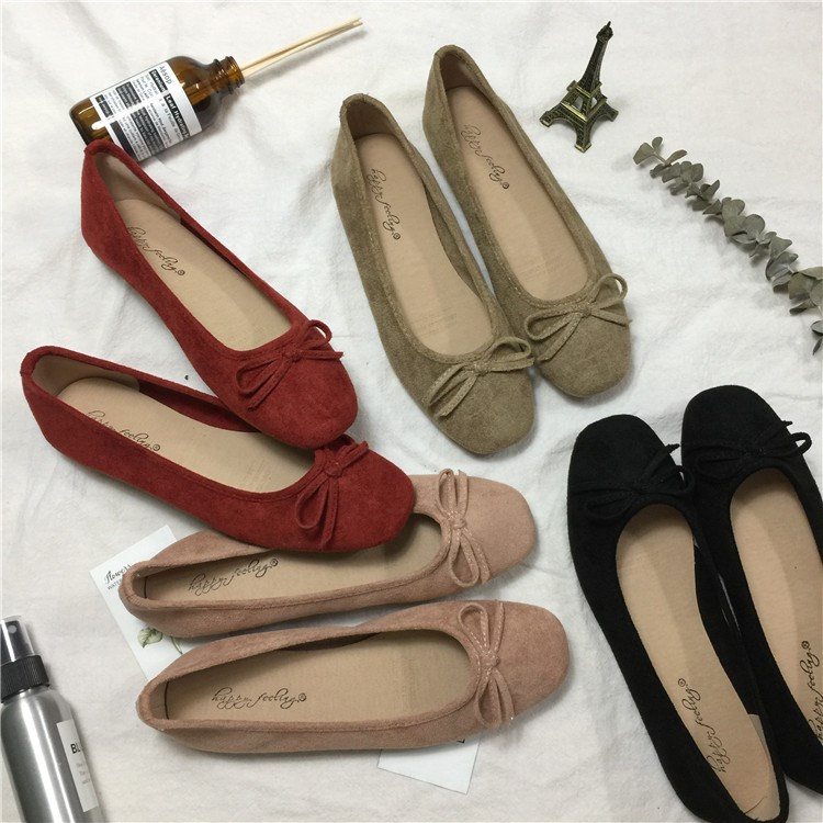 Fashion Korean new round head suede shallow bow Ballet Flat Shoes single shoes large size soft sole driving less