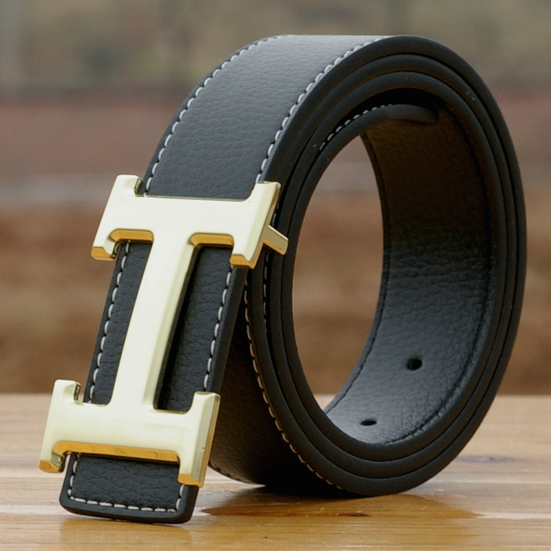 Leather leather belt belt fashionable mens and womens authentic black and white belt, business fashion and leisure