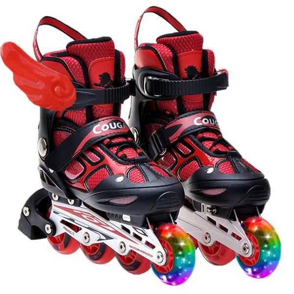 Skates childrens complete set of 3-5-6-8-10 years old beginners four wheel straight Cougar roller skates roller skates