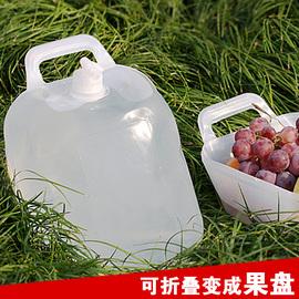 户外加厚饮用储水桶车载10L自驾游食品级PE果盆带水龙头折叠水袋
