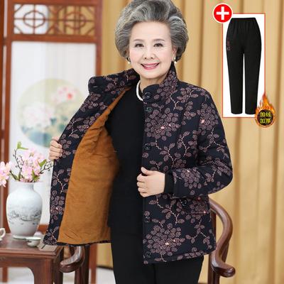 中老年人女装冬装棉袄大码60-70岁80奶奶棉衣加绒加厚老太太服装