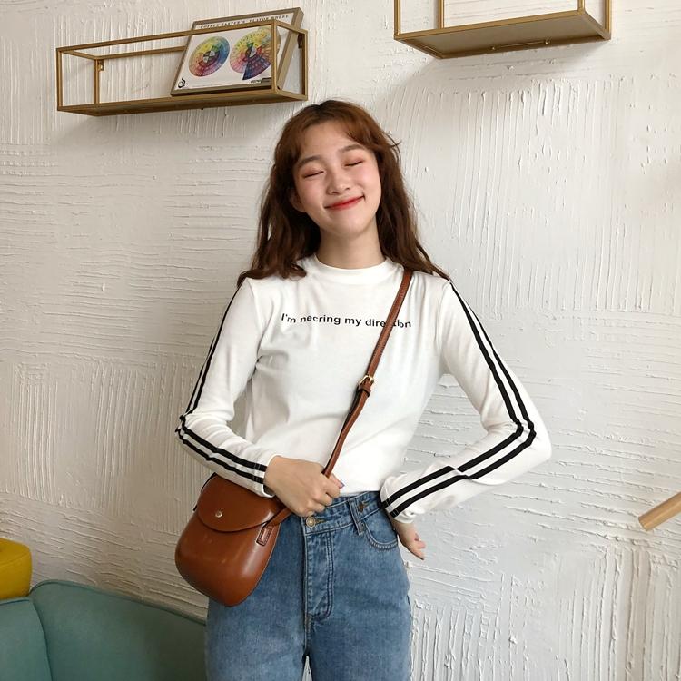 实价实拍韩版新款圆领纯色修身显瘦字母印花长袖t恤上衣