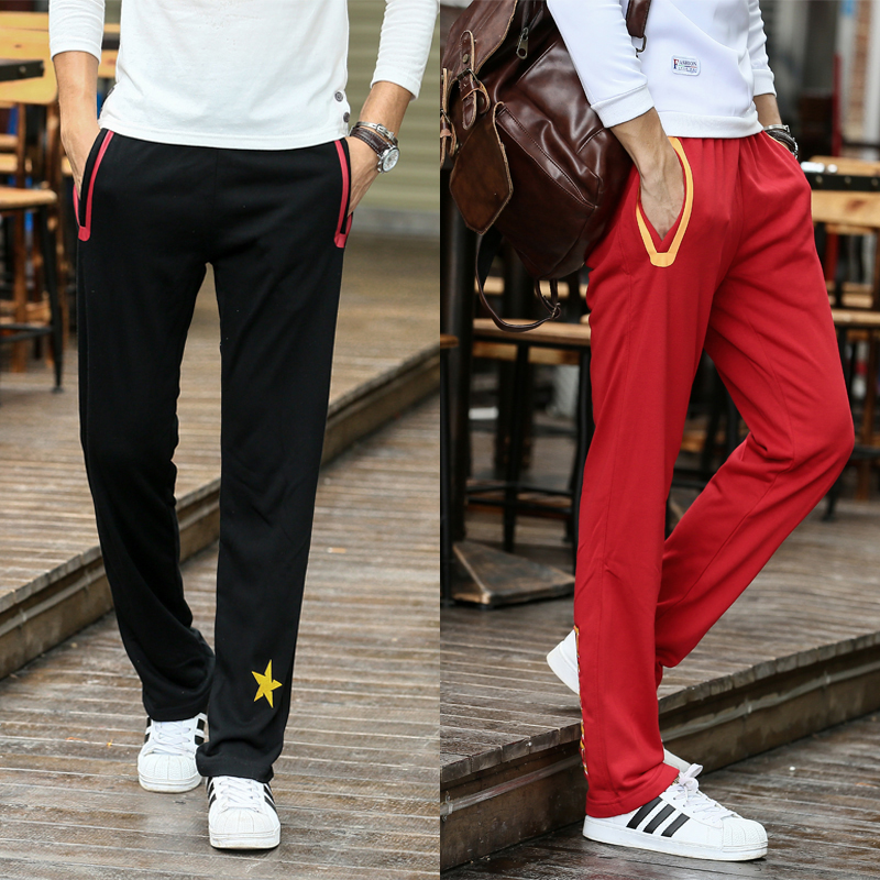 Sports pants Chinese team mens trousers spring and autumn thin loose training pants casual straight tube basketball pants knitted cotton Wei pants