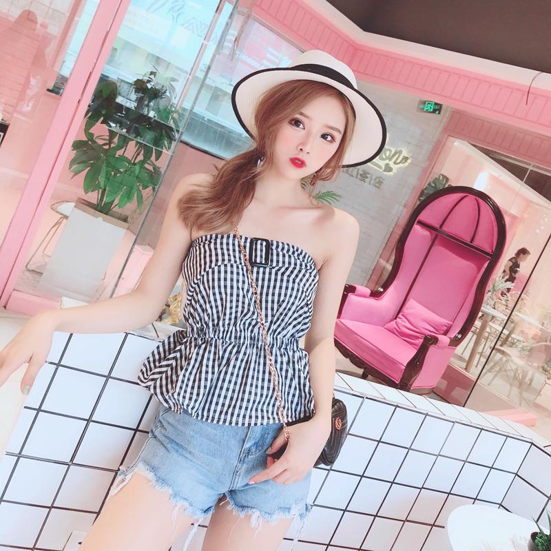 娃娃家实拍 2018夏季新款 韩版时尚女装 小裙摆抹胸上衣Y625