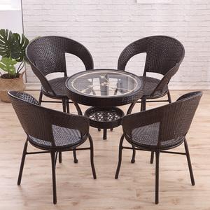 阳台桌子圆形藤编小茶几休闲藤椅喝茶桌椅组合简约钢化玻璃小圆桌
