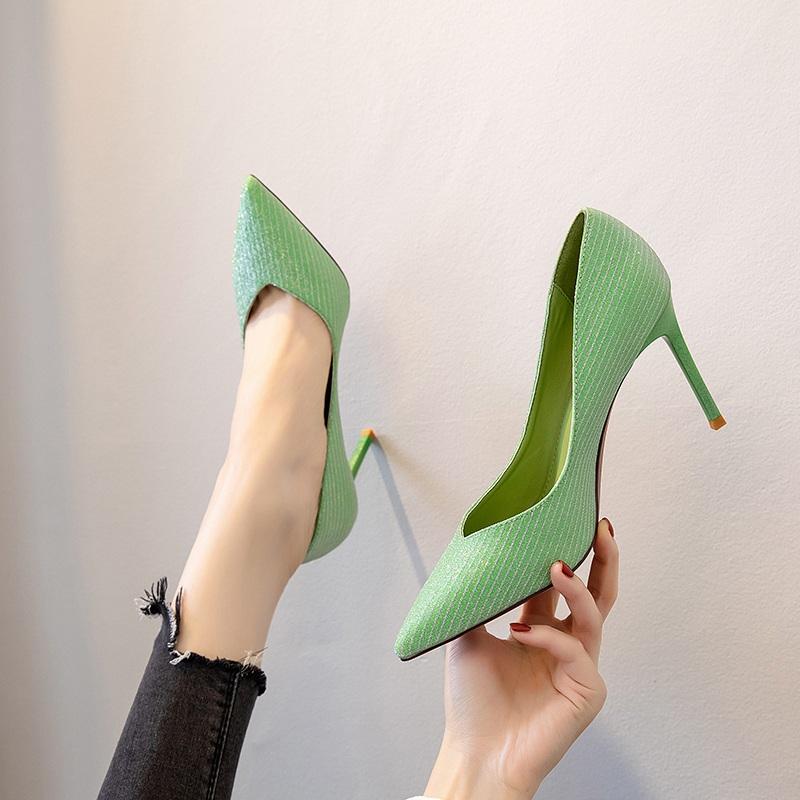 粉色高跟鞋女2020春季新款欧美尖头超烫水钻细跟浅口百搭单鞋少女