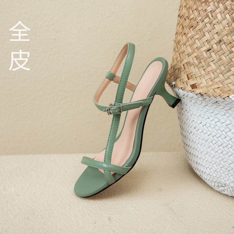 2020 new summer solid color one belt sandals women wear fairy style peep toe Korean fashion high heels