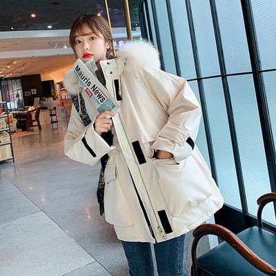 华锦服饰冬季新款大毛领工装棉服女韩版宽松bf加厚派克服棉袄外套