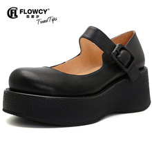 Flocy New Autumn and Summer 2019 Retro Big Head Leather Shoes Soft Real Cowskin Slope-heeled Single Shoes Thick-soled Mary Jane Shoes