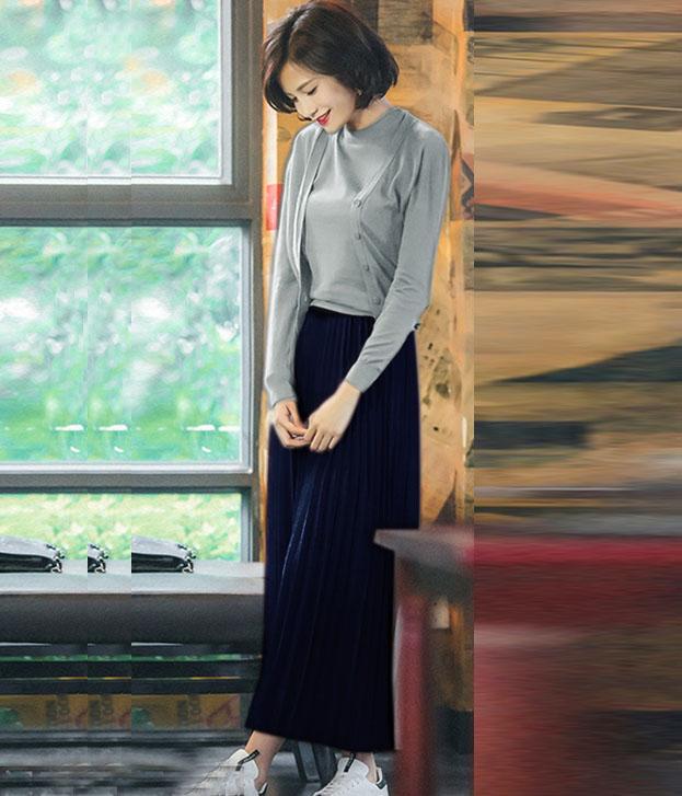 A-line Chiffon pleated Korean versatile long skirt in autumn 2020