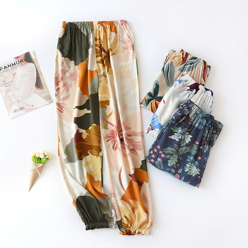 Spring and summer satin silk womens household pants and pajamas can be worn with casual pants and tied feet to prevent mosquitoes
