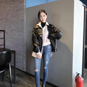 皮衣女外套短款學生女機車2017新款女士韓版原宿風bf寬松pu皮夾克