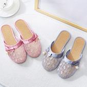 2018新款夏季亚麻女拖鞋时尚蕾丝镂空家居室内室外防滑包头凉拖