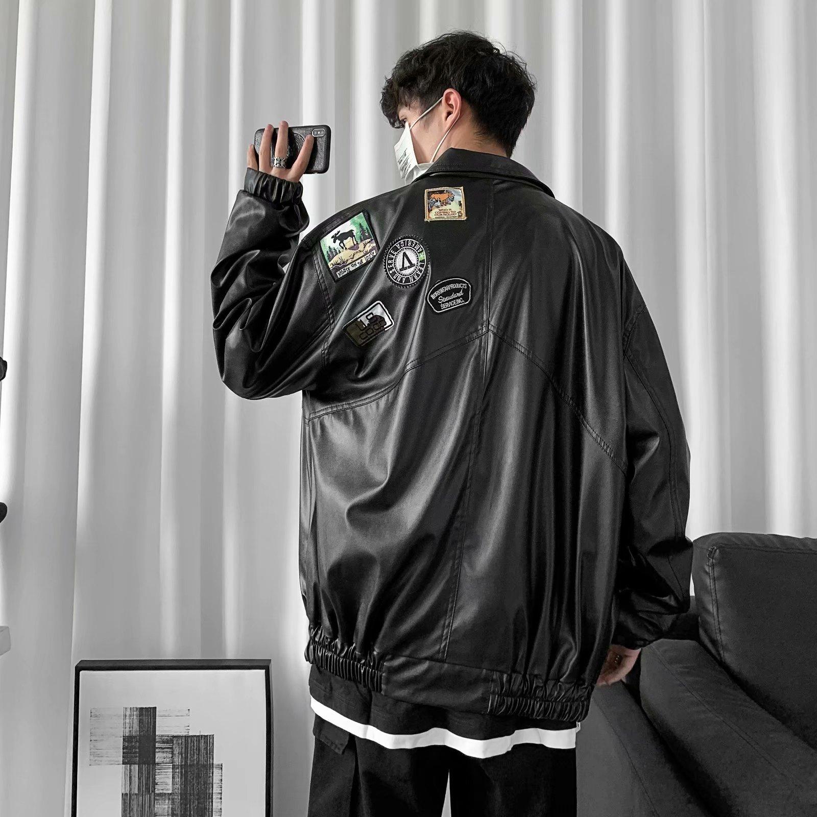 128-P70 2020新款宽松男女款港仔嘻哈潮牌时尚爆款男皮衣夹克外套
