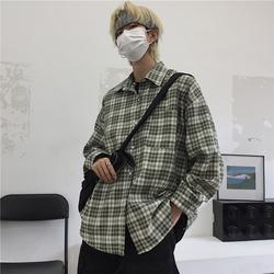 8843-P42 新款男秋季潮绿格纹开衫翻领百搭长袖休闲衬衣外套上衣