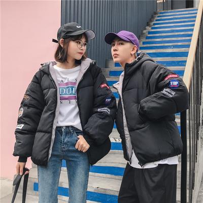 18冬季韩版连帽棉服短款羽绒棉衣外套学生bf男女青年情侣2304P80
