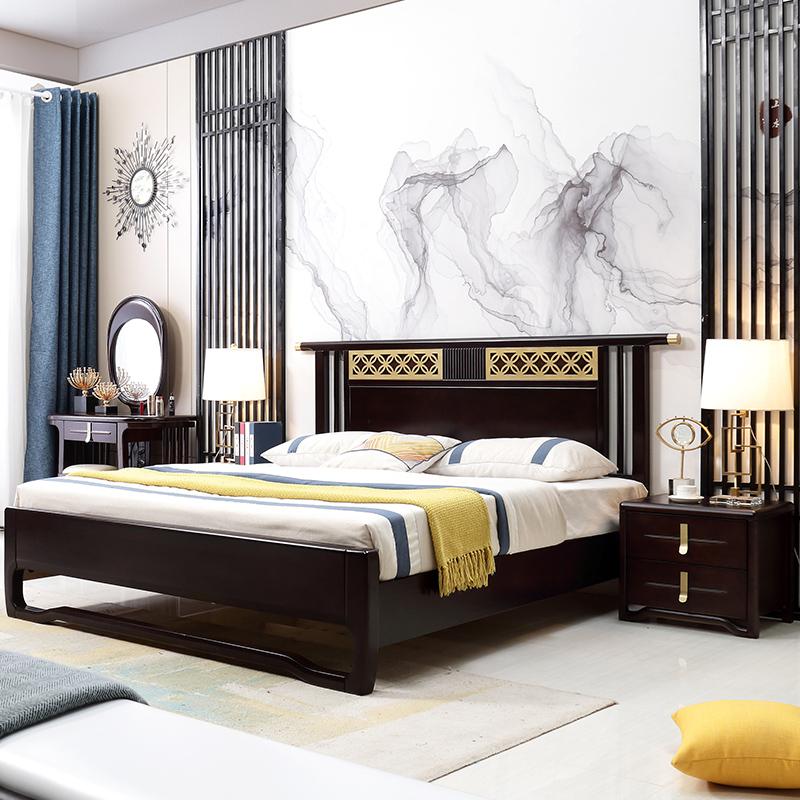 新中式实木床现代中式1.8米双人床雕花整屋套房样板间1.5m床黑檀