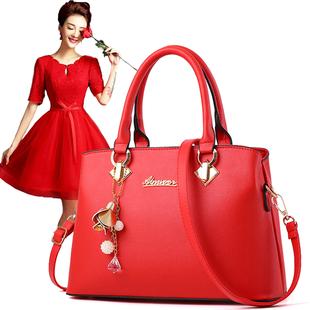 红色包包女2020新款 结婚女包单肩手提包百搭斜挎包大红色新娘婚包