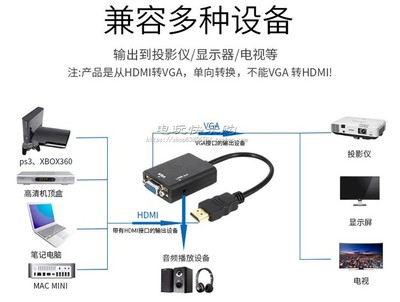 HDMI to VGA adapter cable HDMI TO VGA with audio HD to computer PC VGA with audio