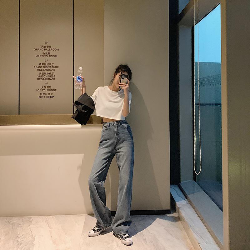 2019春夏学生小个子泫雅宽松牛仔裤(用1元券)