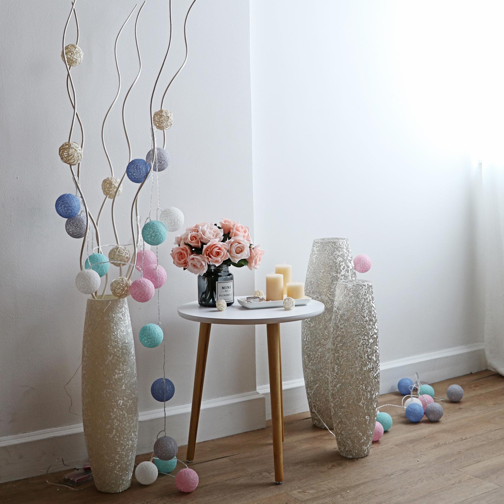花瓶透明现代时尚大花瓶插落地花艺客厅玻璃摆设夜灯餐桌套装摆件