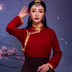 藏族服饰藏装女新款衬衣民族风棉麻衬衫藏袍西藏锅庄裙上衣藏式