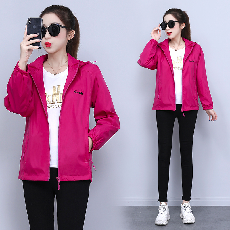 2020 spring and autumn new promotion leisure sports top coat womens hooded breathable cardigan thin jacket windbreaker