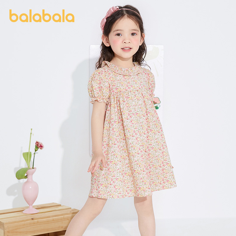 Balabala children's dress girl skirt children's small fragile summer 2021 new child baby dress literary