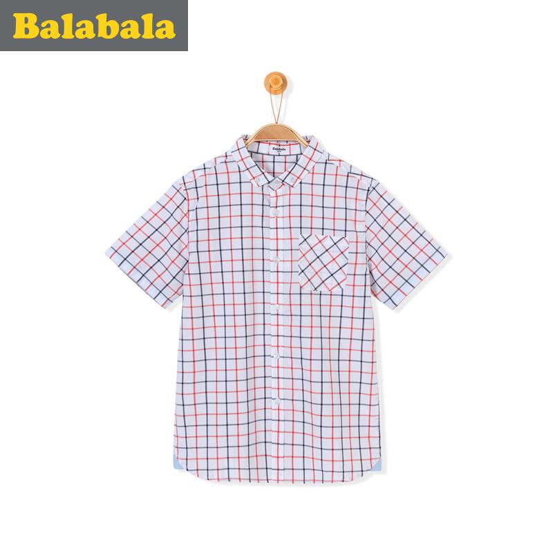 巴拉巴拉格子兒童純棉襯衣