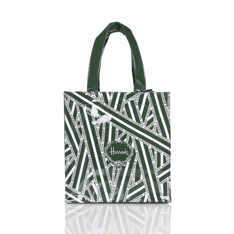 特价包邮英伦名品pvc墨绿色条纹环保购物袋大容量防水手提包女包