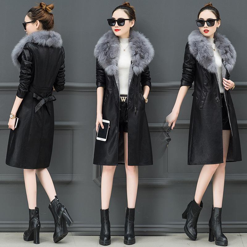 2018新款修身冬季皮衣女加绒加厚中长款韩版显瘦收腰大毛领皮外套