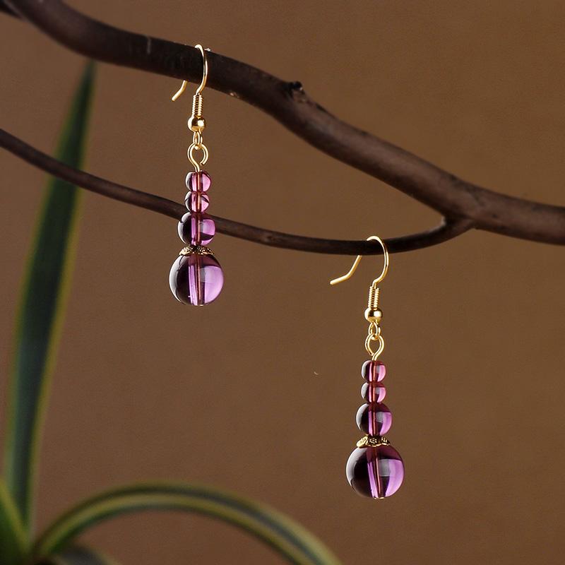 女气质简约小众紫水晶清新复古耳环(非品牌)