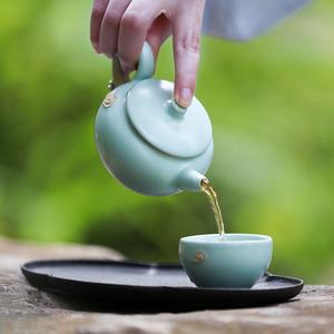 万仟堂随手礼 陶瓷茶水杯子女 一壶二杯带茶盘茶具套装家用 云起