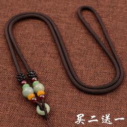 高档油青翡翠手工编织项链挂件绳子男女玉佩黄金玉石挂坠吊坠挂绳