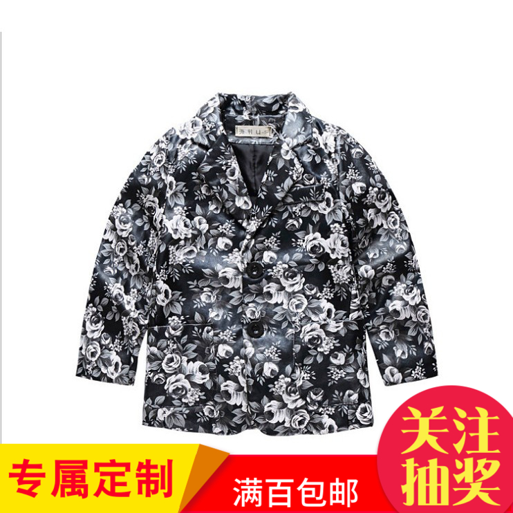 自留牛鞭!韩版秋冬款男童西装领外套女中大童皮夹克儿童时尚外套
