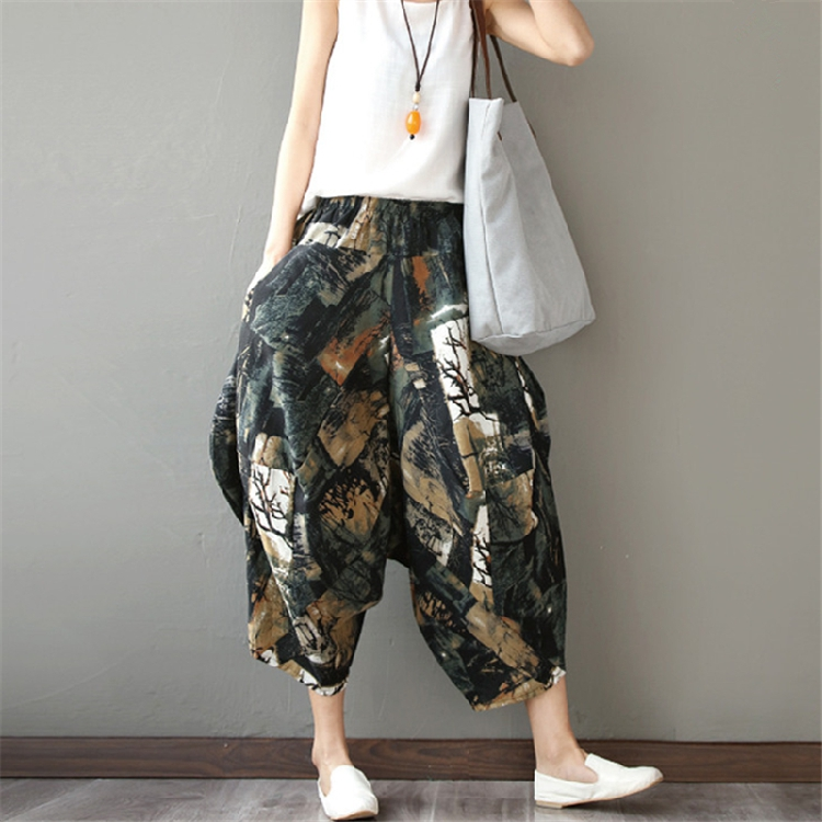 Summer dress retro national style cotton linen wide leg pants pants Harem Pants womens Linen lantern pants skirt pants