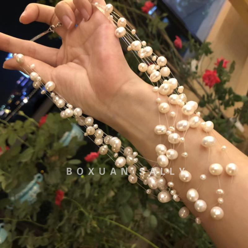 BOXUAN新款项链仙女款天然淡水珍珠满天星锁骨链多双层晚装链