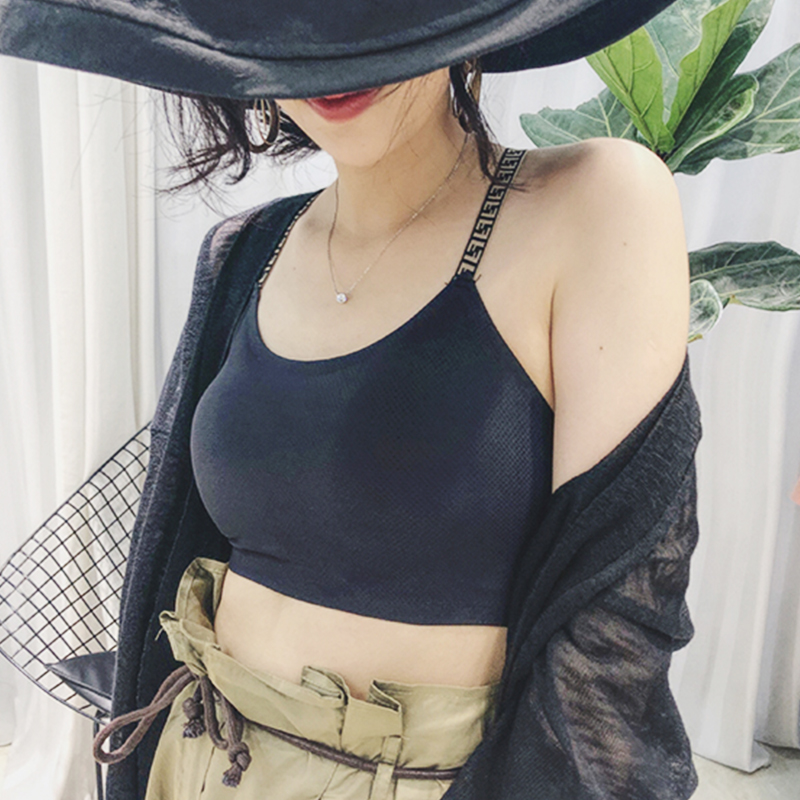 Off shoulder bra top wrapped chest black womens summer wear bottomed shoulder strap no steel ring July new front row spectator