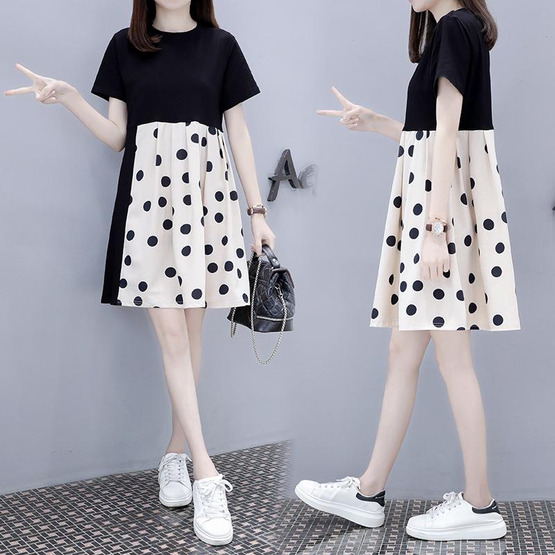 Small dress womens medium length 2020 summer new Korean version loose and slim pop polka dot skirt knee high