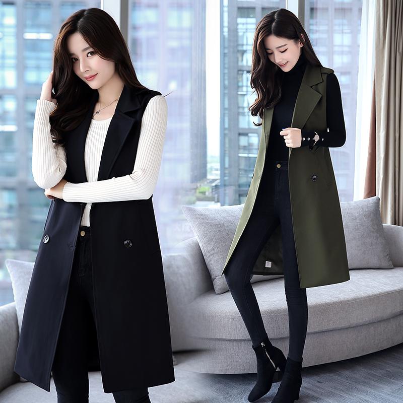 2019 spring and autumn new vest suit collar vest womens medium length cardigan temperament sleeveless Suit Jacket Womens wear