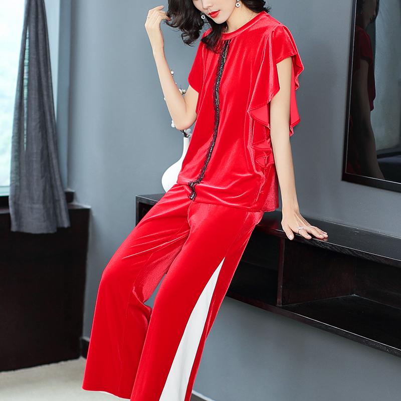 莫澜2018秋季新款丝绒套装女短袖上衣休闲长裤阔腿裤两件套红色夏
