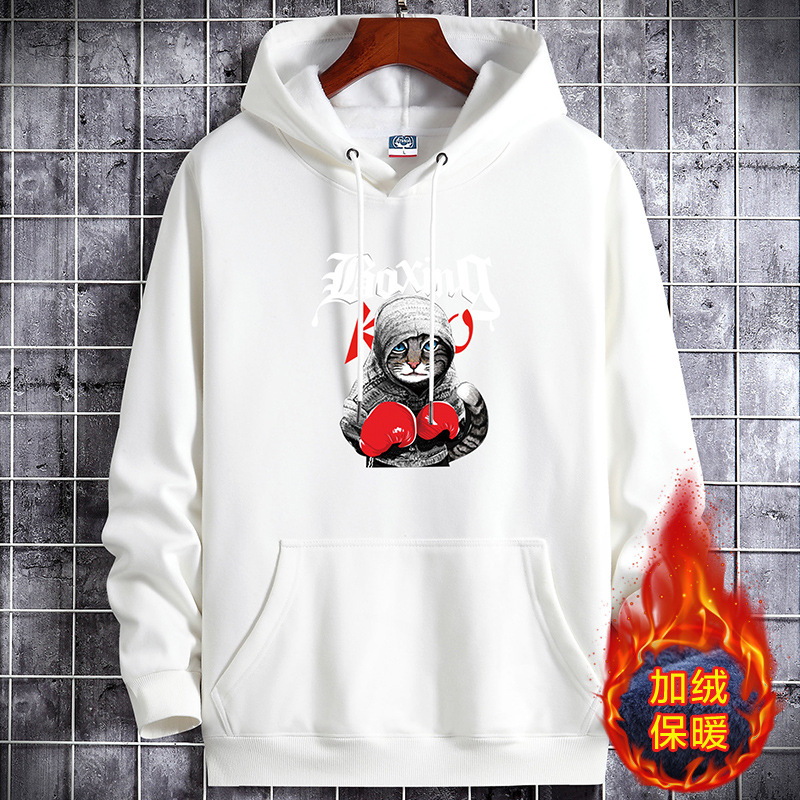 Autumn and winter mens Plush thickened sweater warm long sleeve white Hoodie large fat youth dress pattern