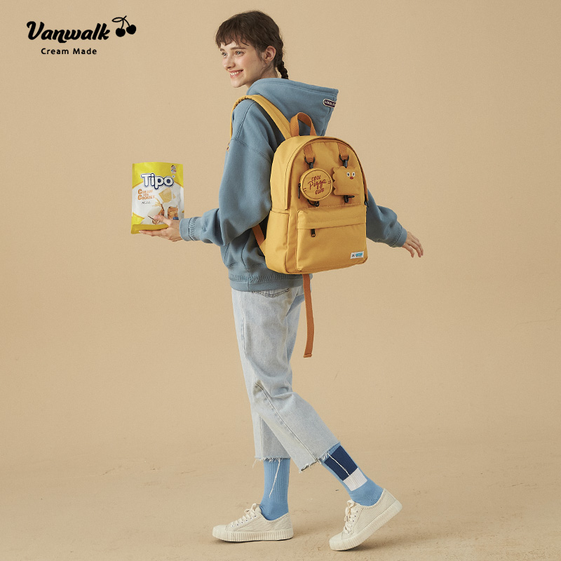 VANWALK Shoulder Bag Female Pure Color High School Student's Backpack Korean Campus Backpack Leisure Travel Bag
