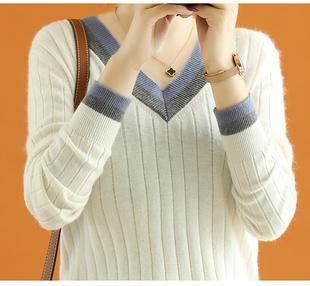 长袖 V领打底羊毛衫 女套头毛衣修身 拼色羊绒针织衫 韩版 2020新款