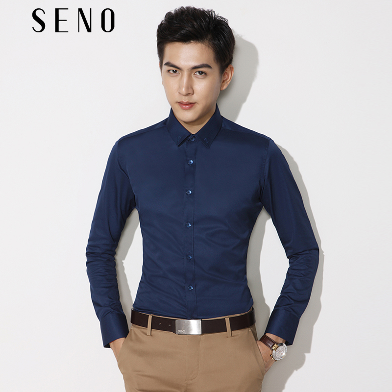 Seno Embroidered Shirt Men's long sleeve dark blue slim fitting business suit shirt