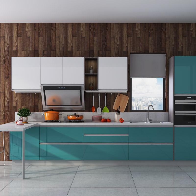 金牌厨柜整体橱柜定制田园风格四季阳光2石英石整体厨房橱柜定做