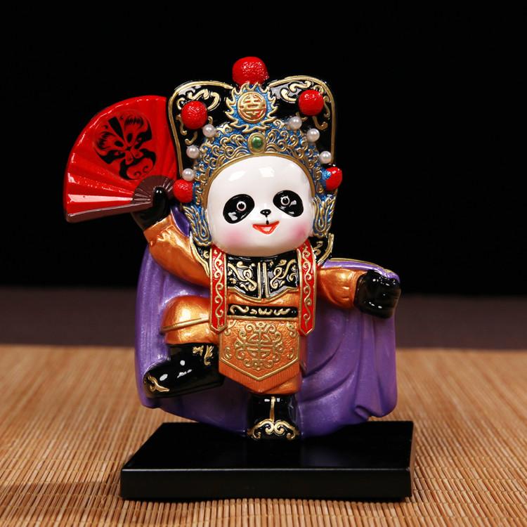 中国风川剧熊猫特色手工艺品桌面摆件脸谱熊猫出国商务送老外礼品