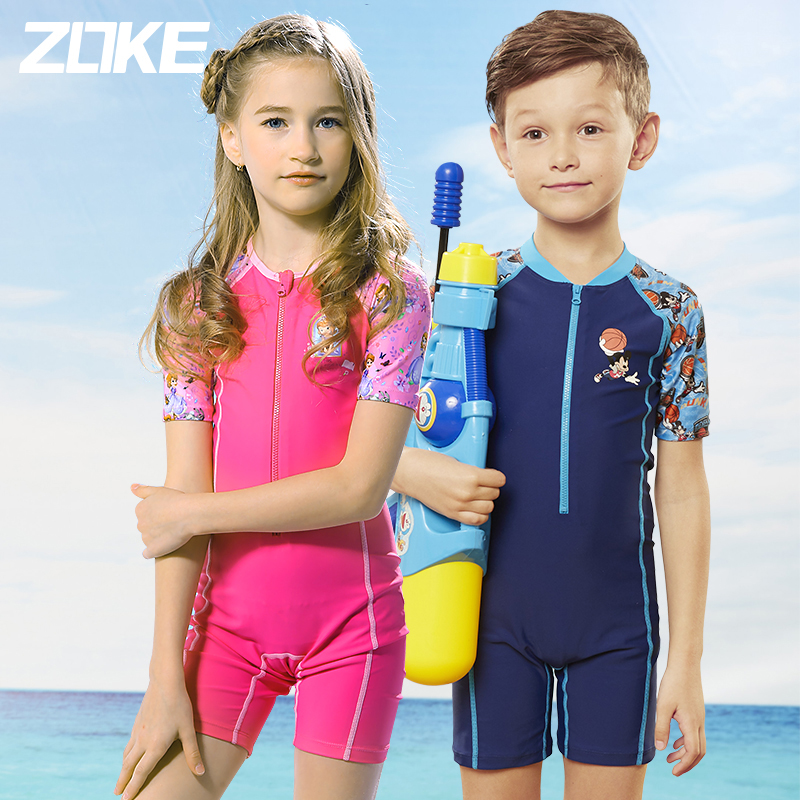 Zhouke childrens swimsuit girls one-piece boys swimsuit childrens swimsuit students baby small middle big child